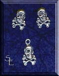 Sterling Silver Skull and Bones Post Earrings and Matching Charm Gift Set
