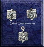 Music Post Earrings and Matching Charm Gift Set, Sterling Silver Musician Earrings and Charm