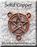 Solid COPPER Pentacle Rosary Finding Pentagram Jewelry Finding CLOSEOUT