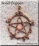 Copper Bailed Vine Pentacle Pendant with Cab Inset Area, CLOSEOUT
