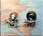 Sterling Silver Crystal Ball Charm, Fortune Teller, Psychic, Gypsy Jewelry