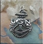 Sterling Silver US Navy Anchor Pendant, Military Charm