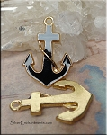 Black Enamel Anchor Pendant, Black-Gold
