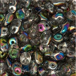 Super Duo Beads, CRYSTAL VITRAIL, Czech Glass SuperDuo Beads 10 grams