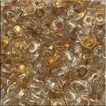 Super Duo Beads, Golden TWILIGHT CRYSTAL, 10 grams Czech SuperDuo 2-Hole Seed Beads