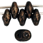 Czech Super Duo Beads, Opaque JET with BRONZE PICASSO, 10-grams 2-Hole SuperDuo Beads