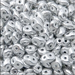 Super Duo Beads Metallic SILVER Czech Two Hole Superduos Seed Beads