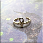 SOLID - Sterling Silver Ankh Toe Ring
