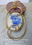 Wire-Wrapped Blue Rose Vintage Cameo Pendant, 14k GF