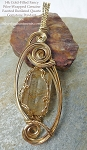 Fancy Wire-Wrapped Faceted Gold Rutilated Quartz Pendant, 14k GF