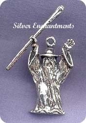 Sterling Silver 3D Wizard with Staff Pendant
