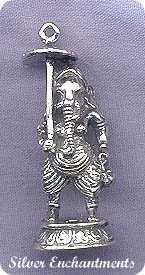 Sterling Silver Ganesha, 3D Ganesh with Umbrella Pendant or Altar Statue - Lord of Success