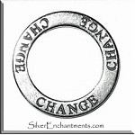 Sterling Silver CHANGE Affirmation Ring Necklace Charm - CLOSEOUT