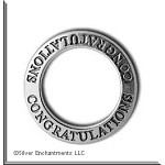 Sterling Silver CONGRATULATIONS Affirmation Ring Necklace Charm - CLOSEOUT