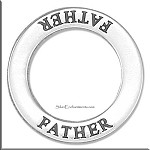 FATHER Affirmation Ring Necklace Charm, Sterling Silver