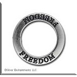 Sterling Silver FREEDOM Affirmation Ring Necklace Charm - CLOSEOUT