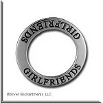 Sterling Silver GIRLFRIENDS Affirmation Ring Necklace Charm - CLOSEOUT