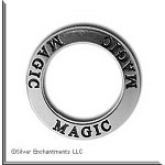 MAGIC Affirmation Ring Necklace Charm, Sterling Silver