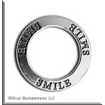 Sterling Silver SMILE Affirmation Ring Necklace Charm - CLOSEOUT