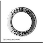 Sterling Silver SOBRIETY Affirmation Ring Necklace Charm - CLOSEOUT