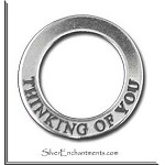 Sterling Silver THINKING OF YOU Affirmation Ring Necklace Charm