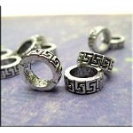 Greek Key Large Hole Spacer Ring Beads