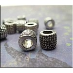 Rope Coil Patterned Large Hole European Tube Beads Spacer Beads