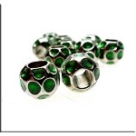 Green Enameled Large Hole Nugget Bead