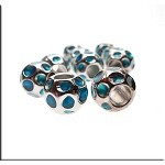 Aqua Enameled Large Hole Nugget Bead