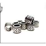 Silver Floral Pattern Large Hole Beads, Antique Silver