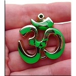 Large Om Pendant, Gold with Green Splash