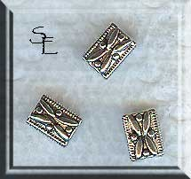 Flower Rectangle Beads, Antique Silver Flower Beads (20)