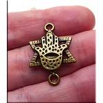 Brass Hamsa Hand of Miriam with Star of David Jewelry Connector, 27x19mm