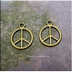 Bronze Peace Sign Earrings, Small