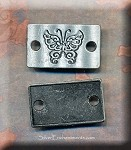 Etched Butterfly Jewelry Connector, Curved, Jet-Gunmetal Finish