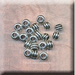 Silver 3mm Large Hole Coil Spacer Beads, Antique Silver Pewter 7mm Rondelle Beads Bulk (20)