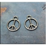 Small Peace Charm, 10mm Antiqued Silver