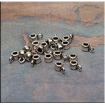Silver Small Bails for Beaders Pewter Jewelry Bails w 2.25mm Hole Bulk (20)