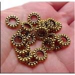 Antique Gold Large Hole Spacer Beads Pewter European Jewelry Spacers (20)