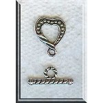 Wholesale Dotted Heart Toggle Clasps Jewelry Clasps Bulk (10)