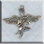 Pewter Fairy Pendant, Exotic Angel with Heart, Antique Silver, 40x45mm