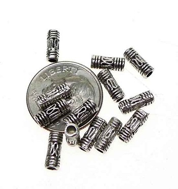Wholesale Bali Style Beads, 3x8mm Antique Silver Tube Beads, Bulk (50)