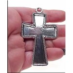 Inlayable Cross Pendant, Bezel Cross Pendant with Rope Edge