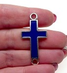 Silver Blue Enameled Curved Cross Bracelet Connector Finding 41x20mm