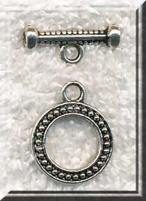 Round Dotted Detail Toggle Clasp 15mm