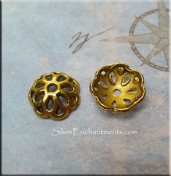 12mm Pierced Bead Cap, Antique Gold Pewter