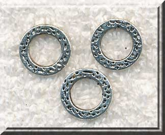 Textured Round Jewelry Rings,13mm Antique Silver (15)