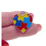Autism Awareness Heart Charms with Multicolor Enameled Puzzle Pieces Bulk (10)