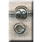 Yin-Yang Large Hole Beads, Antique Silver (10)