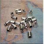 Plain Jewelry End Caps, Braiding Endcaps with 3mm Opening Bulk (20)